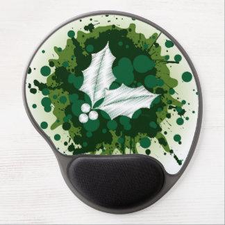 Splattered Paint Christmas Holly Design Gel Mousepads