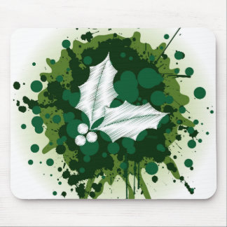 Splattered Paint Christmas Holly Design Mouse Pads