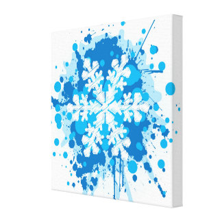 Splattered Paint Christmas Snowflake Design Stretched Canvas Prints