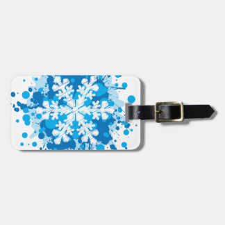 Splattered Paint Christmas Snowflake Design Luggage Tag