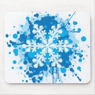 Splattered Paint Christmas Snowflake Design Mousepads