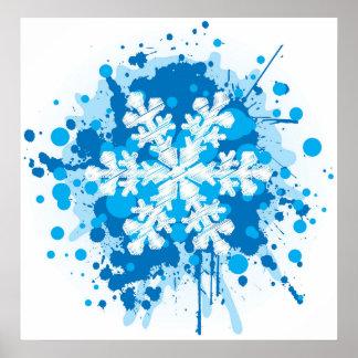 Splattered Paint Christmas Snowflake Design Poster