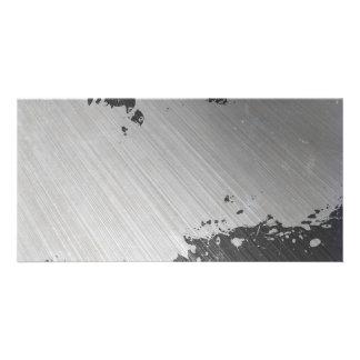 Splattered Urban Brushed Steel Custom Photo Card