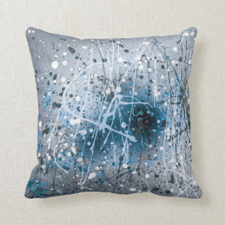 Splatters Paint Blue Cushion