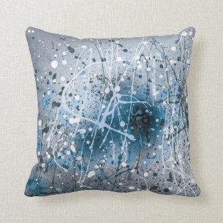 Splatters Paint Blue Throw Pillow