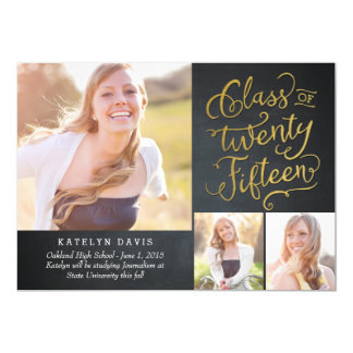 "Splendid Collage Graduation Announcement - Black 5"" X 7"" Invitation Card"