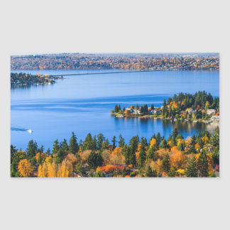Splendid colors of fall at Bellevue Rectangular Sticker