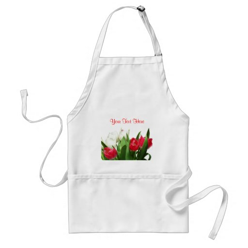 Splendid Red and White Tulips Design Apron