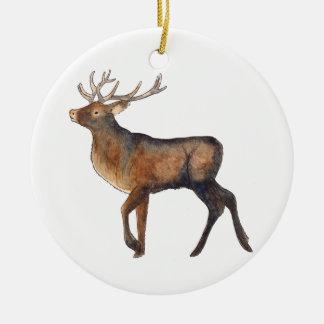 Splendid stag round ceramic decoration