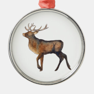 Splendid stag Silver-Colored round decoration