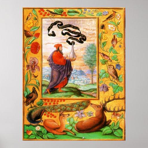 Splendor Solis: Philosopher with Flask Print