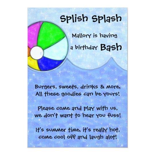 Splish Splash Bash Birthday Party Invite
