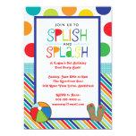 Splish Splash Bash (Blue) 13 Cm X 18 Cm Invitation Card