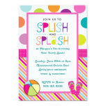 Splish Splash Bash (Pink) 13 Cm X 18 Cm Invitation Card