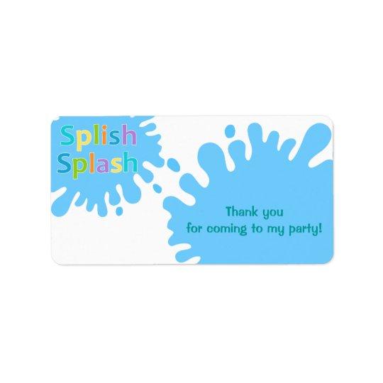 Splish Splash Pool Party Boy Favour Tag Label