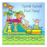 Splish Splash Pool Party Custom Birthday Invites 13 Cm X 13 Cm Square Invitation Card