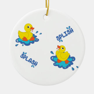 Splish Splash Round Ceramic Decoration