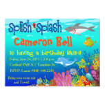 Splish Splash Under the Sea Birthday Bash! 13 Cm X 18 Cm Invitation Card