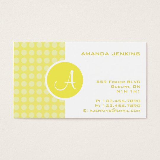 Split Monogram - Yellow Business Card