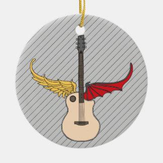 Split Personality Guitar Round Ceramic Decoration