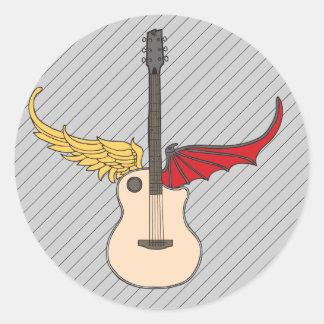 Split Personality Guitar Round Stickers