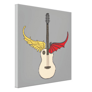 Split Personality Guitar Stretched Canvas Prints