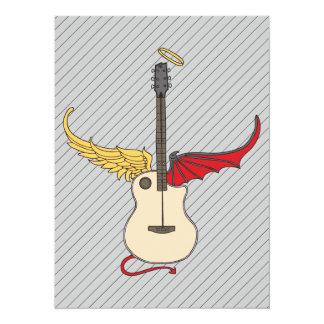 Split Personality Guitar (w/ tail halo) 14 Cm X 19 Cm Invitation Card