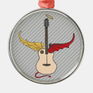 Split Personality Guitar (w/ tail halo) Silver-Colored Round Decoration