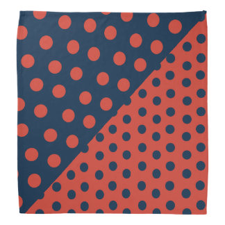 Split Personality Polka Dots - Orange+Blue Bandana