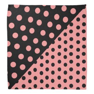 Split Personality Polka Dots - Pink+Black Bandana