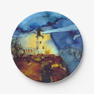 Split Rock Lighthouse At Night Paper Plate