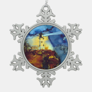 Split Rock Lighthouse At Night Snowflake Pewter Christmas Ornament