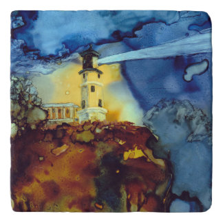 Split Rock Lighthouse At Night Trivet