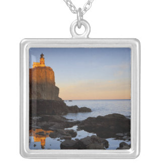 Split Rock Lighthouse at sunset near Two Square Pendant Necklace
