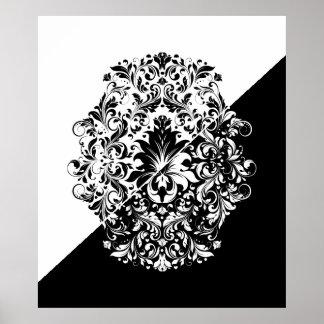 Split Screen Black & White Swirls Mandala Poster
