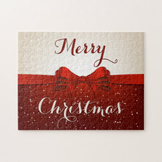 Split Snow and Red Ribbon Jigsaw Puzzles