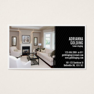 Split Staging with Photo - Black Business Card