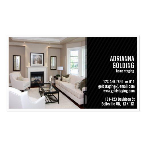 Split Staging with Photo - Black Business Cards