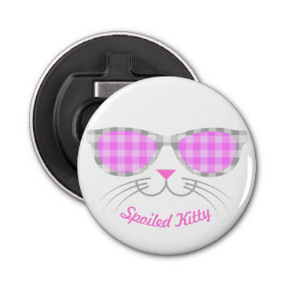 Spoiled Kitty Cat Face in Pink Shades Graphic Bottle Opener