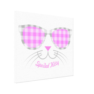 Spoiled Kitty Cat Face in Pink Shades graphic Canvas Print