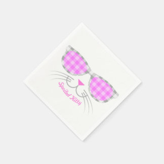 Spoiled Kitty Cat Face in Pink Shades graphic Disposable Serviettes