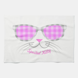 Spoiled Kitty Cat Face in Pink Shades graphic Towels