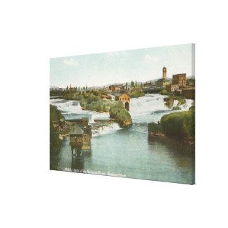 Spokane, WA - View of Middle Falls & River Canvas Print