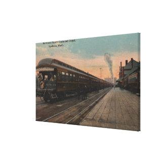Spokane, WA - View of N. Pacific Train & Depot Canvas Print