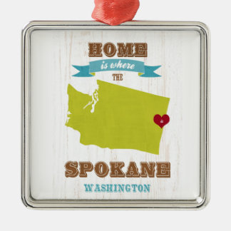 Spokane, Washington Map – Home Is Where The Heart Christmas Ornament