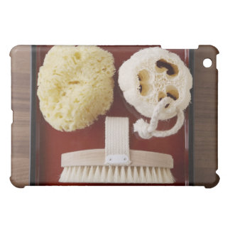 Sponge, loofah, brush on red tray case for the iPad mini