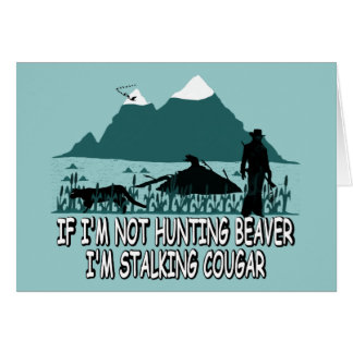 Spoof cougar hunter greeting card