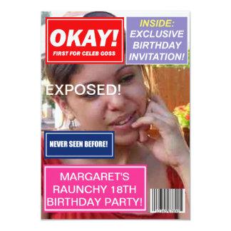 Spoof mag Celebrity gossip custom Birthday invite