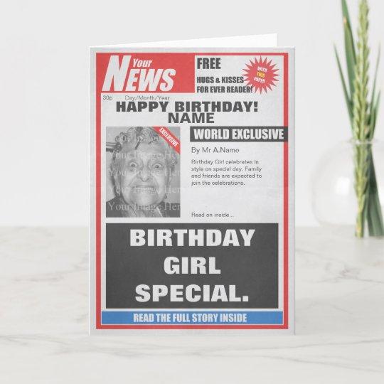 Spoof Newspaper Photo Upload Birthday Card