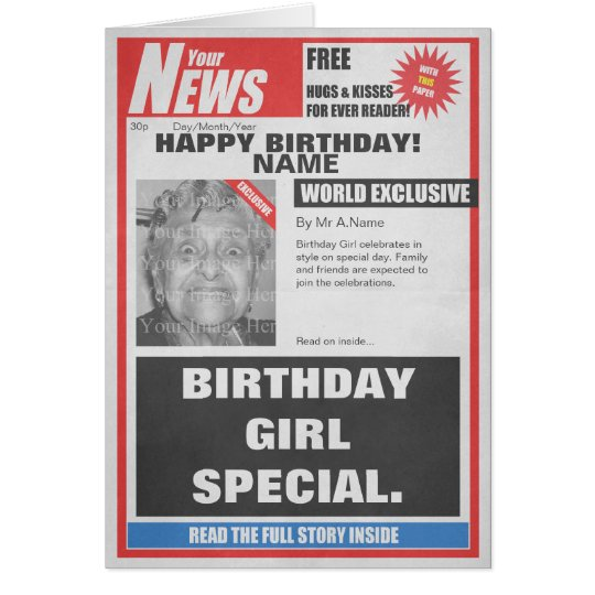 Spoof Newspaper Photo Upload Birthday Card